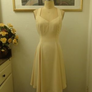 A.B.S Cream Color V-neck Criss Cross Back Dress